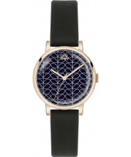 Orla Kiely OK2070 Ladies Patricia Stem Print Black Satin Leather Strap Watch