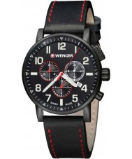 Wenger 01-0343-104 Mens Attitude Black Leather Chronograph Watch