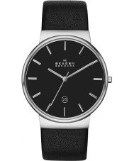 Skagen SKW6104 Mens Ancher Black Leather Strap Watch