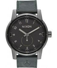 Nixon A938-2072 Mens Patriot Gunmetal Surplus Horween Leather Watch