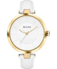 Bulova 97L140 Ladies Dress White Leather Strap Watch