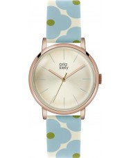 Orla Kiely OK2072 Ladies Patricia Sky Blue Flowery Leather Strap Watch