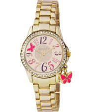 Accessorize AZ4000 Ladies Gold Bracelet Charm Watch with Stone Set Bezel