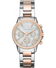 Armani Exchange AX4331 Ladies Silver and Rose Gold Chronograph Dress Watch