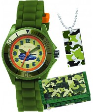 Tikkers ATK1003 Boys Tank Khaki Green Watch Gift Set with Wallet and Necklace