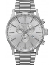 Nixon A386-1920 Mens Sentry Silver Steel Chronograph Watch