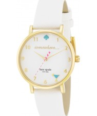 Kate Spade New York 1YRU0765 Ladies Novelty Metro White Saffiano Leather Strap Watch