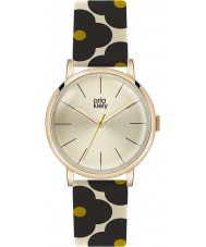 Orla Kiely OK2074 Ladies Patricia Black Flowery Leather Strap Watch