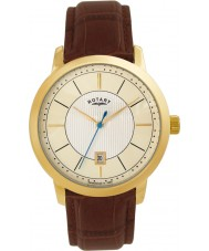 Rotary GS42827-03 Mens Gold Plated Brown Leather Strap Watch