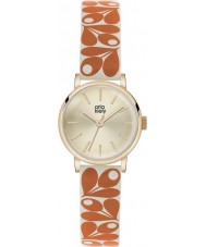 Orla Kiely OK2078 Ladies Patricia Acorn Print Orange-Cream Leather Strap Watch