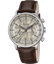 Festina F16893-7 Mens Retro Brown Leather Chronograph Watch