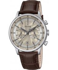 Festina F16893-7 Mens Retro Brown Leather Chronograph Watch