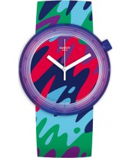 Swatch PNP101 Popthusiasm Silicone Strap Watch with Fun Multicoloured Print