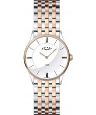 Rotary LB08202-01 Ladies Ultra Slim White Two Tone Watch
