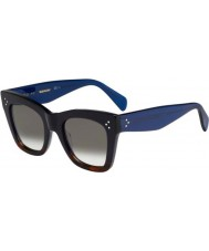 Celine Ladies CL 41090-S QLT Z3 Black Havana Blue Sunglasses