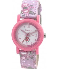 Tikkers TK0099 Girls Floral Pink Fabric Strap Watch