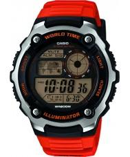 Casio AE-2100W-4AVEF Mens Collection World Time Orange Resin Strap Watch