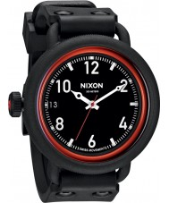 Nixon October All Black and Red Watch