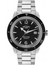 Rotary GB02694-04 Mens Timepieces Ocean Avenger Black Silver Steel Watch