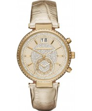 Michael Kors MK2444 Ladies Sawyer Chronograph Gold Leather Strap Watch