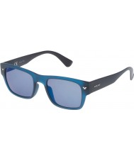 Police Mens Offstage 1 SPL150-892B Semi Matt Transparent Blue Mirrored Polarized Sunglasses