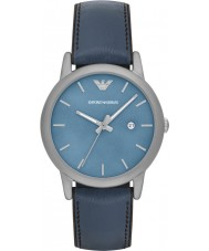 Emporio Armani AR1972 Mens Classic Blue Leather and Silicone Strap Watch