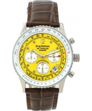 Krug Baümen 400519DS Air Traveller Yellow Dial Brown Strap