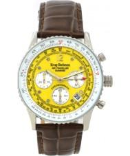 Krug Baümen 400519DS Air Traveller Yellow Dial Brown Strap