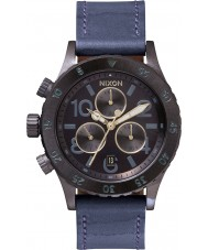 Nixon A504-1930 Ladies 38-20 Blue Leather Strap Chronograph Watch