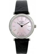 Rotary LS90003-07 Ladies Les Originales Pink Black Leather Strap Watch