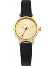 Johnny Loves Rosie JH006 Ladies Gold Plated Black Double Wrap Strap Watch