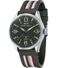 AVI-8 AV-4040-02 Mens Hawker Harrier II Two Tone Leather Strap Watch with Extra Green Nylon Strap