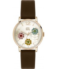 Orla Kiely OK2088 Ladies Swarovski Flowery Set Dark Brown Leather Strap Watch
