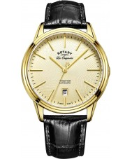 Rotary GS90163-03 Mens Les Originales Tradition Automatic Gold Plated Black Leather Strap Watch