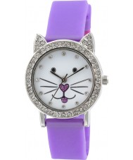 Tikkers TK0107 Girls Kitty Purple Watch with Stone Set Dial