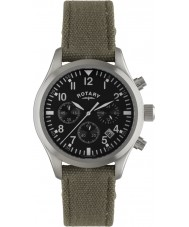 Rotary GS02680-19 Mens Timepieces Pilot Chronograph Khaki Canvas Strap Watch