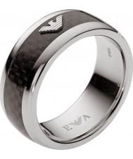 Emporio Armani Mens Signature Black Rings