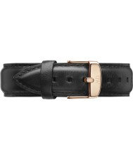 Daniel Wellington DW00200007 Mens Classic 40mm Sheffield Rose Gold Black Leather Spare Strap