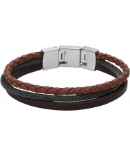 Fossil JF02213040 Mens Casual Brown Multi Leather Strap Bracelet