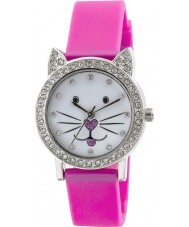 Tikkers TK0108 Girls Kitty Purple Watch with Stone Set Dial