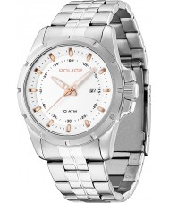 Police 13828JS-01MA Mens Boston White and Silver Steel Bracelet Watch