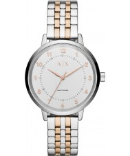 Armani Exchange AX5370 Ladies Silver and Rose Gold Bracelet Dress Watch