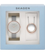 Skagen SKW1078 Ladies Gitte Silver Mesh Watch and Necklace Gift Set