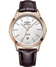 Rotary GS90164-02 Mens Les Originales Tradition Automatic Rose Gold Plated Brown Leather Strap Watch