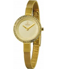 Obaku V129LEGGMG Ladies Stone Set Gold Plated Skinny Mesh Bracelet Watch