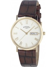 Rotary GS02324-32 Mens Timepieces Windsor White Brown Ultra Slim Watch