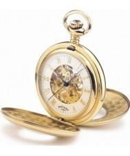 Rotary MP00713-01 Mens Mechanical Skeleton Gold Plated Pocket Watch