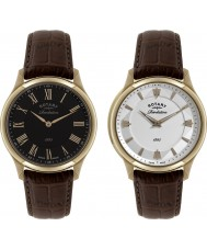 Rotary GS02967-06-10 Mens Revelation Brown Leather Strap Watch with Reversible Dial