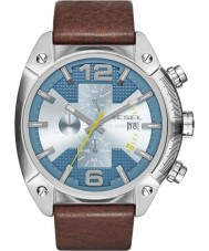 Diesel DZ4340 Mens Overflow Chronograph Brown Leather Strap Watch