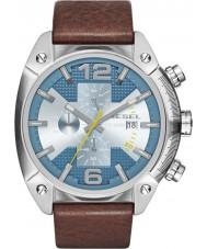 Diesel DZ4340 Mens Overflow Chronograph Brown Leather Strap Watch